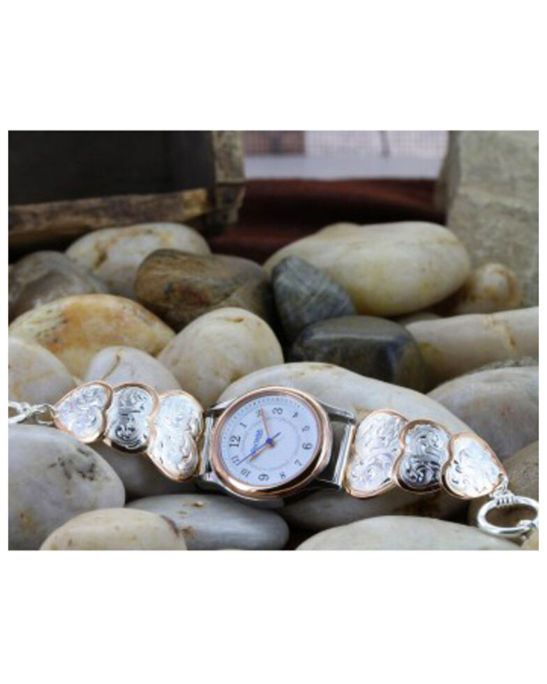 Montana Silversmiths Rose Gold Classic Hearts Band Watch, Silver, hi-res