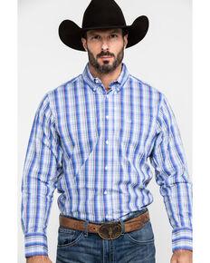 Wrangler 20X Men's Performance Royal Plaid Long Sleeve Western Shirt , Royal Blue, hi-res