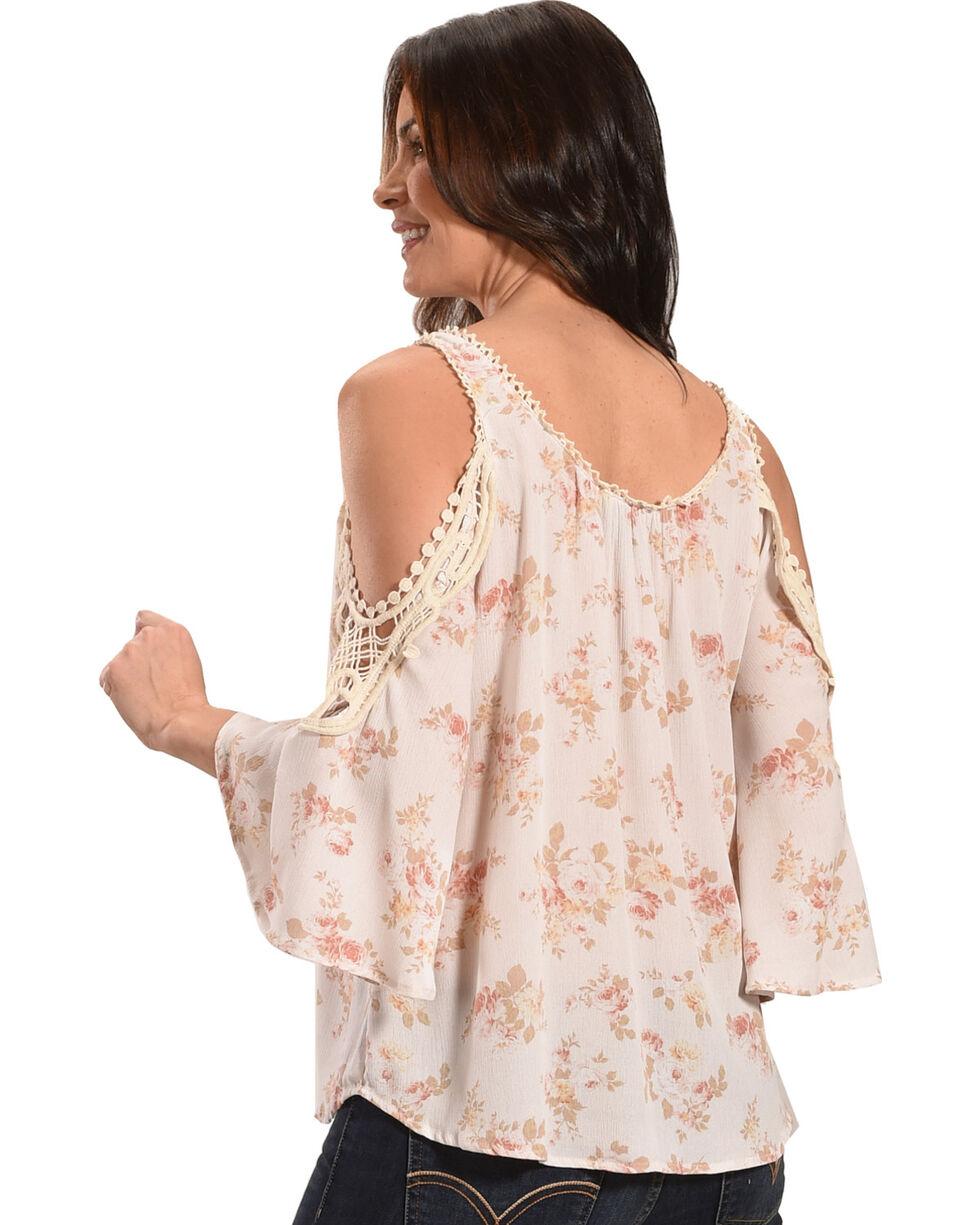 Ivory Love Women's Ivory Floral Crochet Cold Shoulder Top, Ivory, hi-res