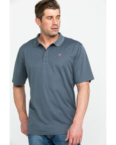 Ariat Men's Grey TEK Short Sleeve Polo Shirt , Grey, hi-res