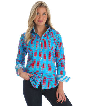 George Strait by Wrangler Women's Blue Dot Print Long Sleeve Western Shirt , Multi, hi-res