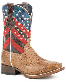 Roper Girls' Amber Waves Western Boots - Square Toe, Brown, hi-res