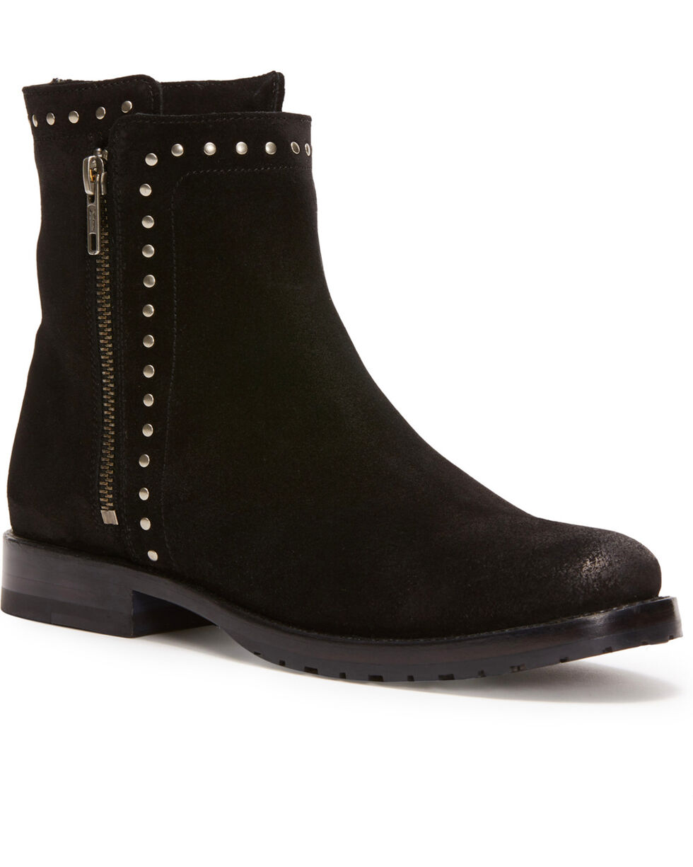 Frye Women's Black Natalie Stud Double Zip Booties - Round Toe , Black, hi-res