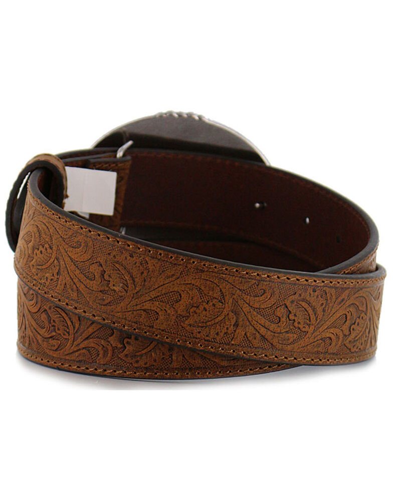 Cody James® Men's Tooled Leather Belt and Buckle, Tan, hi-res