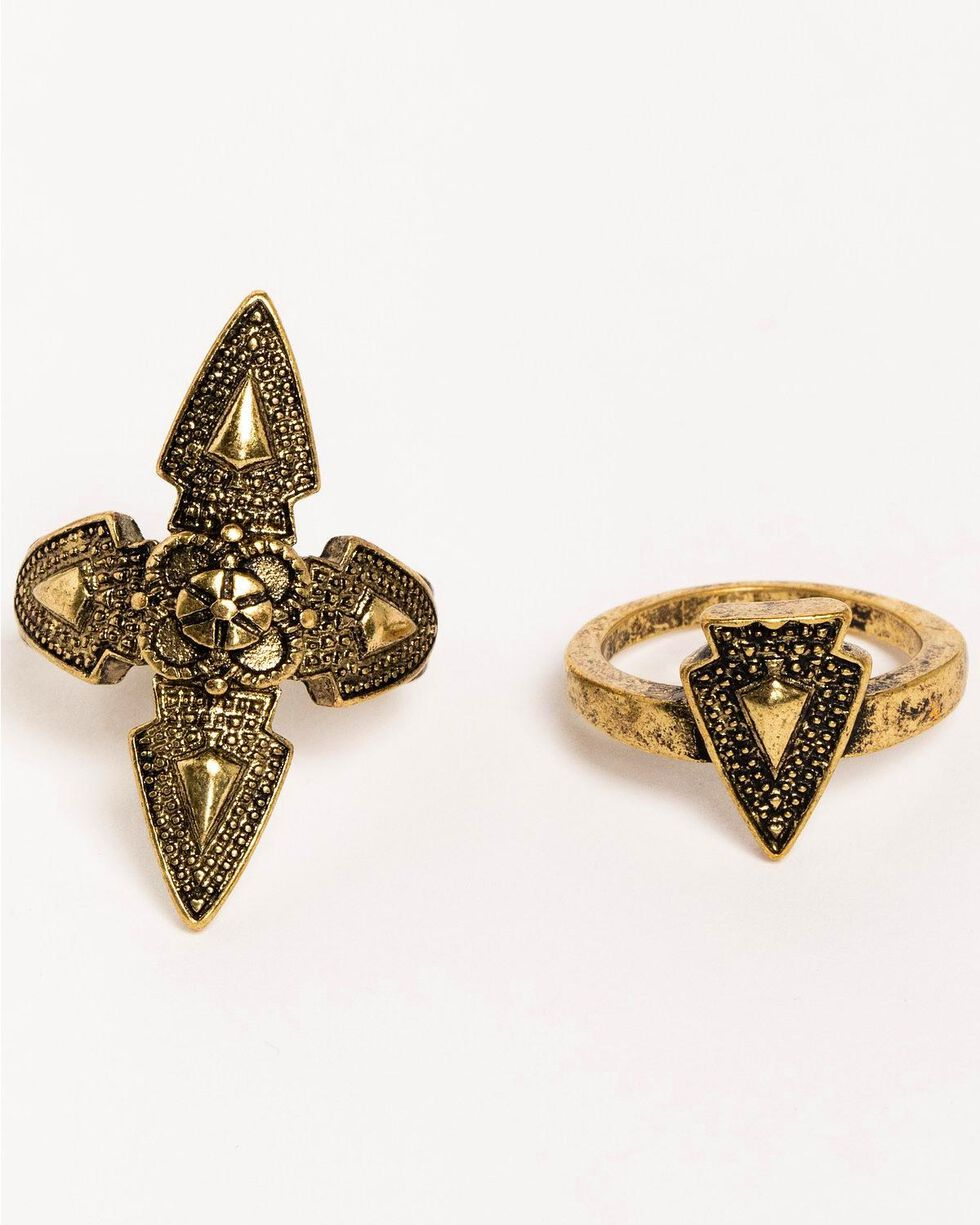 Idyllwind Women's Arrow Brass Ring Set , Gold, hi-res