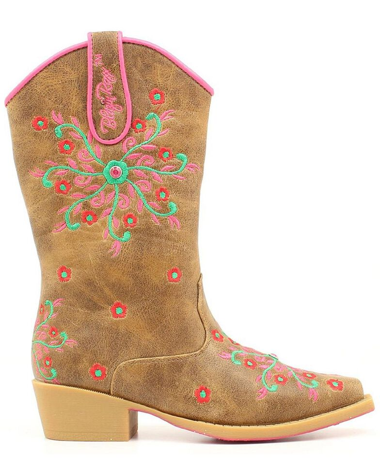 Blazin Roxx Girls' Savvy Embroidered Zipper Cowgirl Boots - Snip Toe, Brown, hi-res