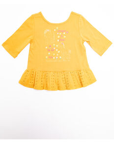 Shyanne Toddler Girls' 3/4 Sleeve Graphic Tee, Yellow, hi-res