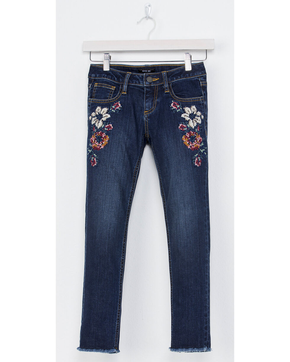 Miss Me Girls' Sweet Sentiments Ankle Skinny Jeans, Indigo, hi-res