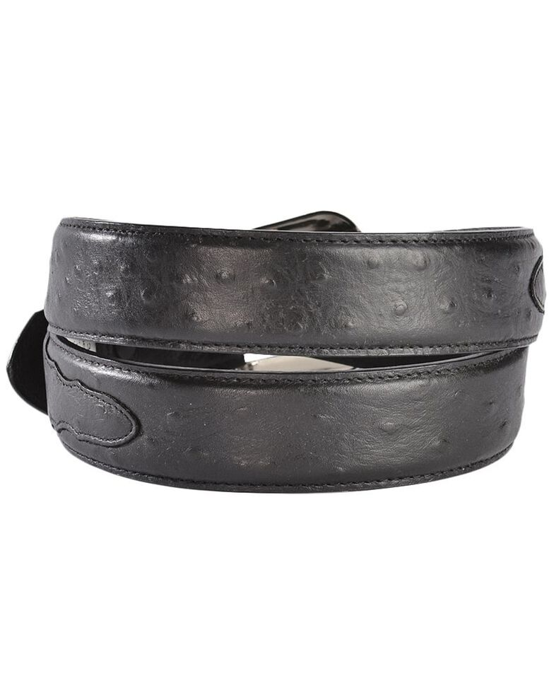 3D Men's Western Leather Ostrich Overlay Belt, Black, hi-res