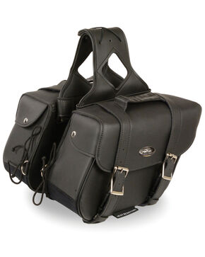 Milwaukee Leather Medium Zip-Off Slanted Throw Over Saddle Bag, Black, hi-res
