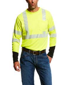 Ariat Men's FR Crew Hi-Vis Long Sleeve Work Shirt - Big & Tall , Yellow, hi-res