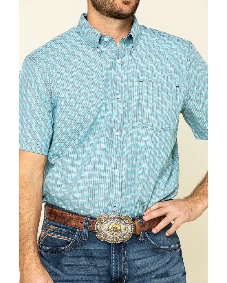 Cody James Core Men's Rodeo Clown Geo Print Short Sleeve Western Shirt - Tall , Blue, hi-res