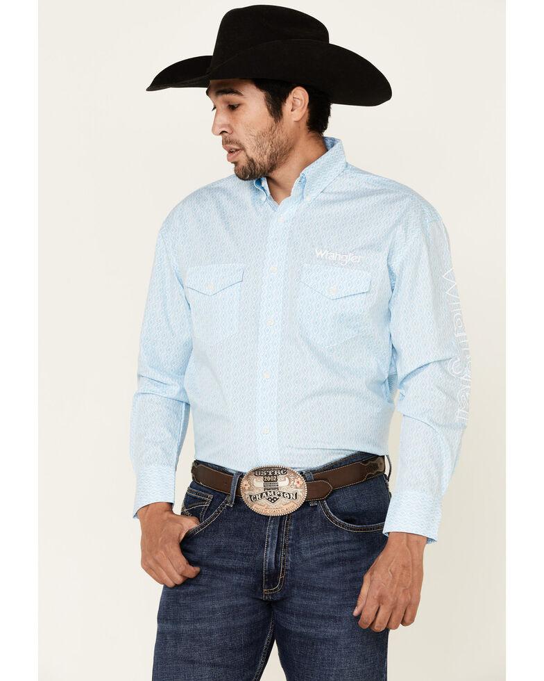 Wrangler Men's Blue Geo Print Logo Long Sleeve Western Shirt , Blue, hi-res