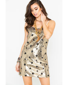 Dance & Marvel Women's Sequin Star Print Spaghetti Strap Dress , Gold, hi-res