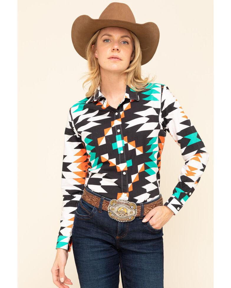 Ranch Dress'N Women's Aztec Print Long Sleeve Western Shirt, Turquoise, hi-res