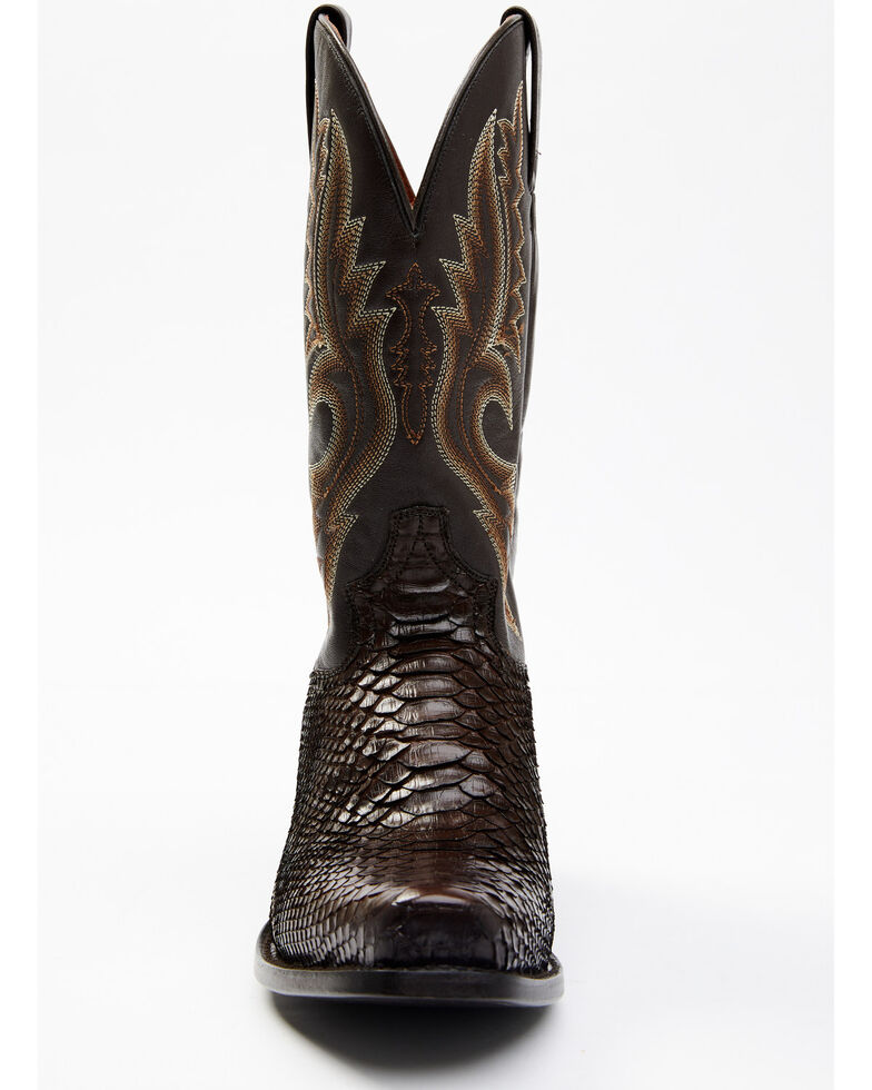 Dan Post Men's Rustic Exotic Python Western Boots - Square Toe, Chocolate, hi-res