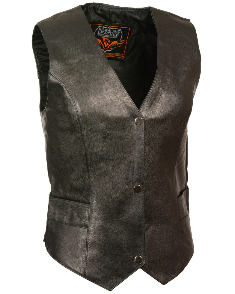 Milwaukee Leather Women's Classic Snap Front Vest - 3X, Black, hi-res