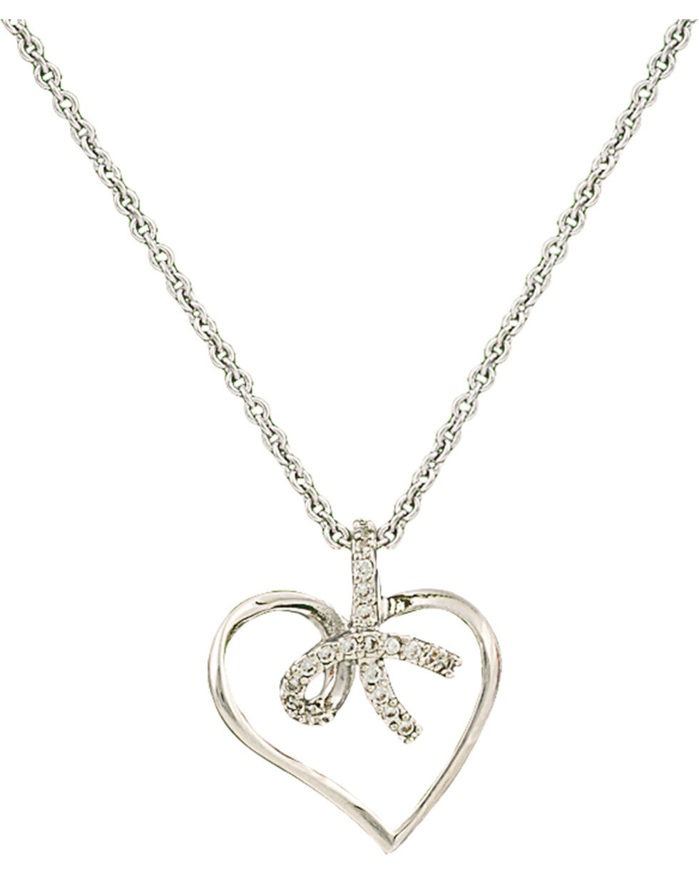 Montana Silversmiths Petite Heart Tied in a Bow Necklace, Silver, hi-res