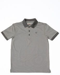 Ariat Boys' Black Stripe Tek Polo Shirt, Grey, hi-res