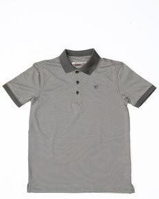 Ariat Boys' Black Stripe Tek Polo Shirt, Grey, hi-res