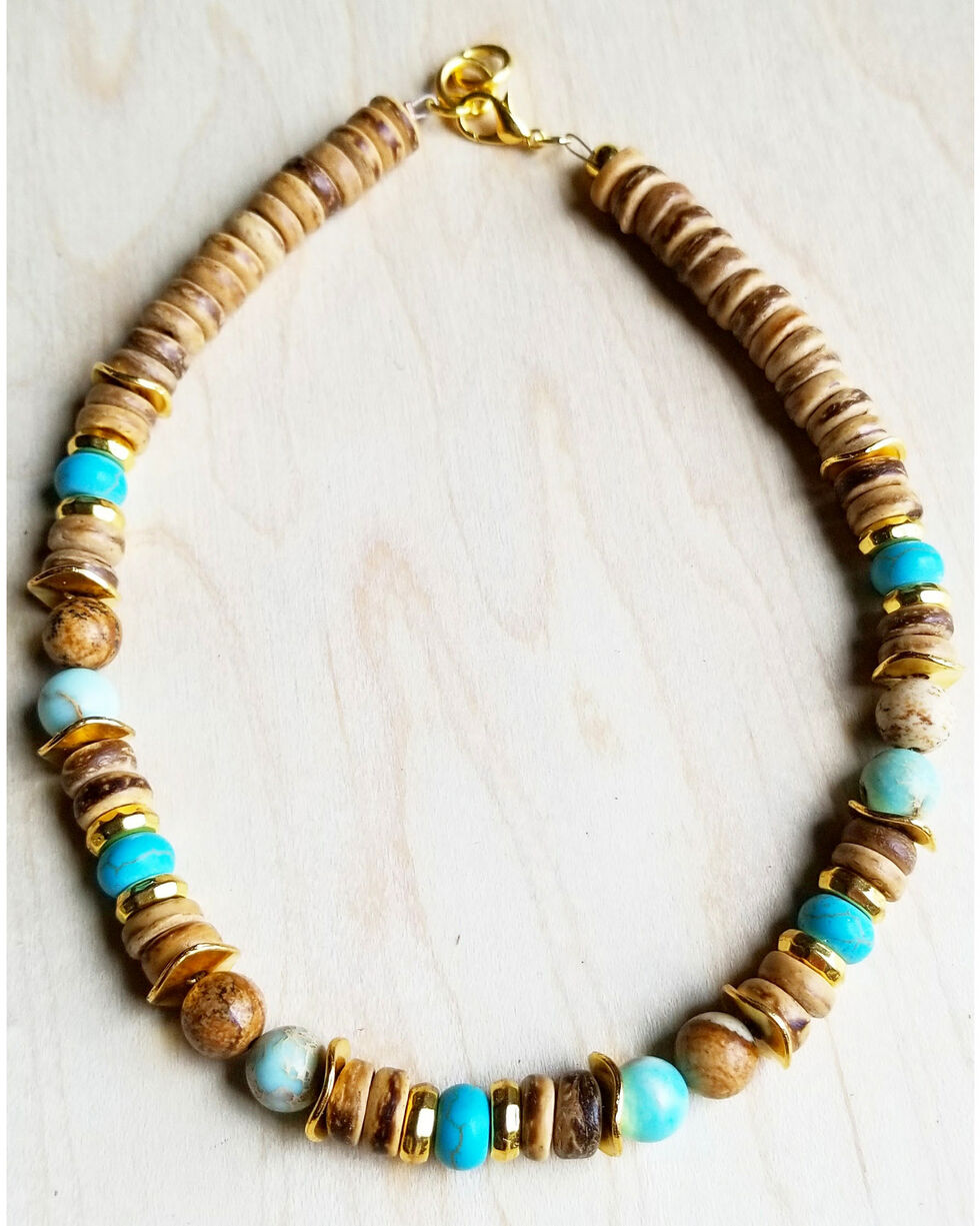 Jewelry Junkie Women's Blue Regalite and Wood Choker with Gold Accents, Light Blue, hi-res