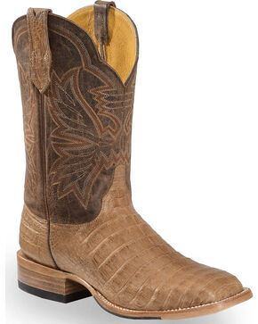 Cinch Men's Classic Caiman Square Toe Exotic Boots, Chocolate, hi-res