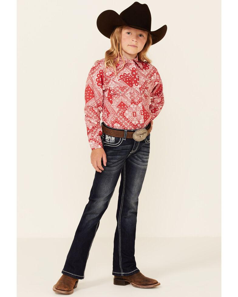 Cowgirl Hardware Girls' Red Retro Bandana Print Long Sleeve Snap Western Shirt , Red, hi-res