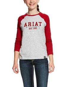 Ariat Girls' Heather Grey Logo Flock Tee, Red, hi-res