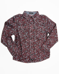 Cody James Toddler Boys' Noble Paisley Print Long Sleeve Western Shirt , Maroon, hi-res
