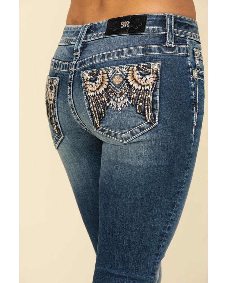 Miss Me Women's Aztec Feather Chloe Bootcut Jeans, Blue, hi-res