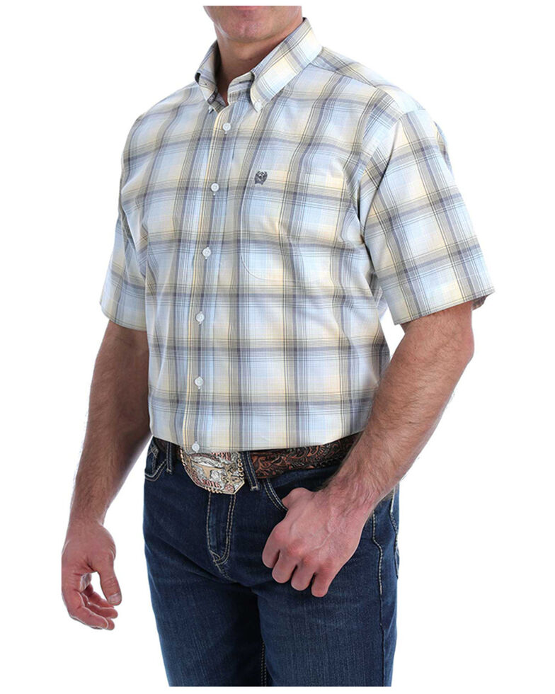 Cinch Men's Multi Large Plaid Short Sleeve Button-Down Western Shirt , Multi, hi-res
