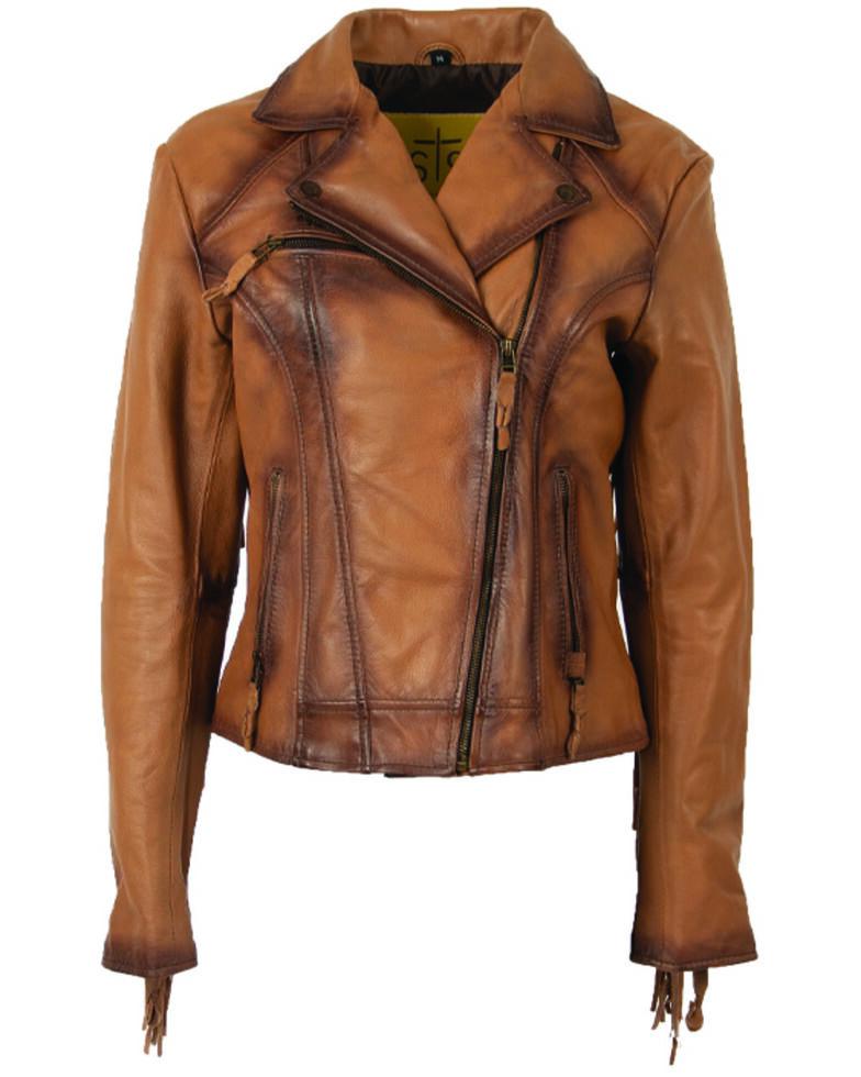 STS Ranchwear Women's Carmel Chenae Fringe Leather Jacket, Brown, hi-res