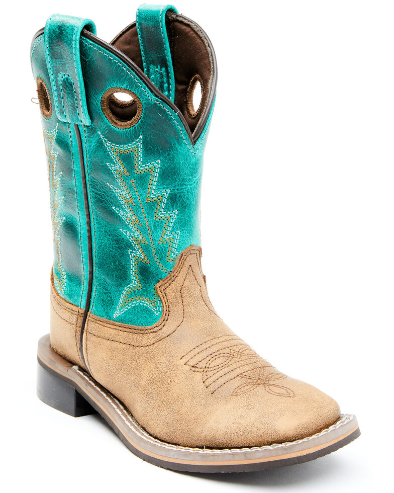 Cody James Boys' Jesse Western Boots - Wide Square Toe, Turquoise, hi-res