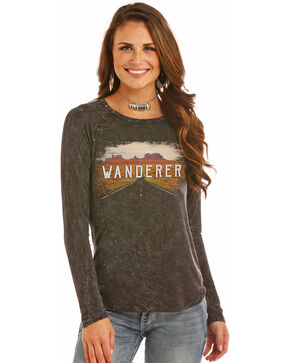 Rock & Roll Cowgirl Women's Black Wanderer Graphic Tee , Black, hi-res