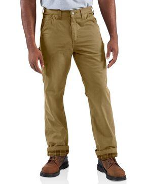 Carhartt Men's Flannel Lined Twill Dungaree Pants, Khaki, hi-res