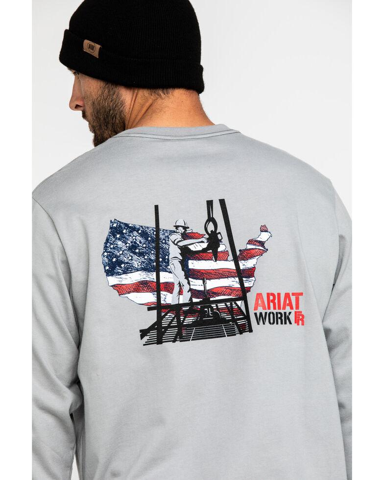 Ariat Men's Grey FR Heartland Graphic Long Sleeve Work T-Shirt - Big , Navy, hi-res