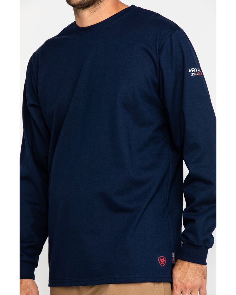Ariat Men's Navy FR O&G Graphic Long Sleeve Work T-Shirt - Big & Tall , Navy, hi-res