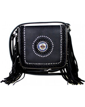 Montana West Fringe Collection Braided Lacing with Fringe Crossbody Bag in Black, Black, hi-res