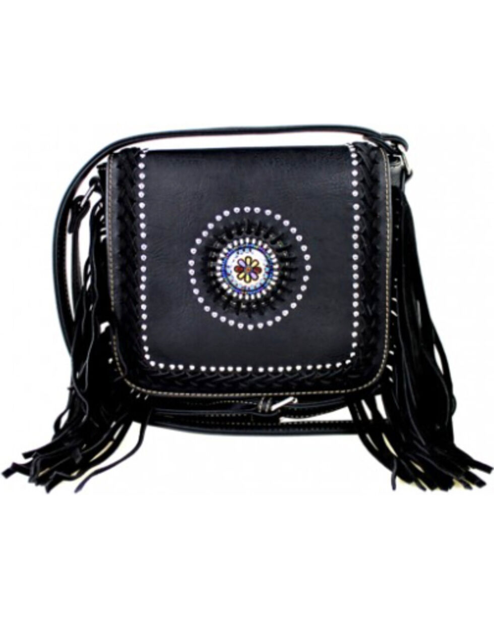 Montana West Fringe Collection Braided Lacing with Fringe Crossbody Bag in Black, , hi-res