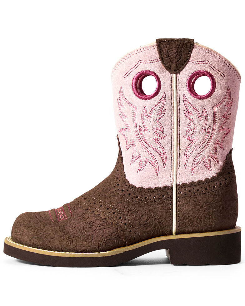 Ariat Girls' Tooled Cowgirl Western Boots - Round Toe, Brown/pink, hi-res