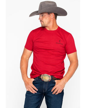 Browning Men's Buckmark Distressed T-Shirt , Red, hi-res
