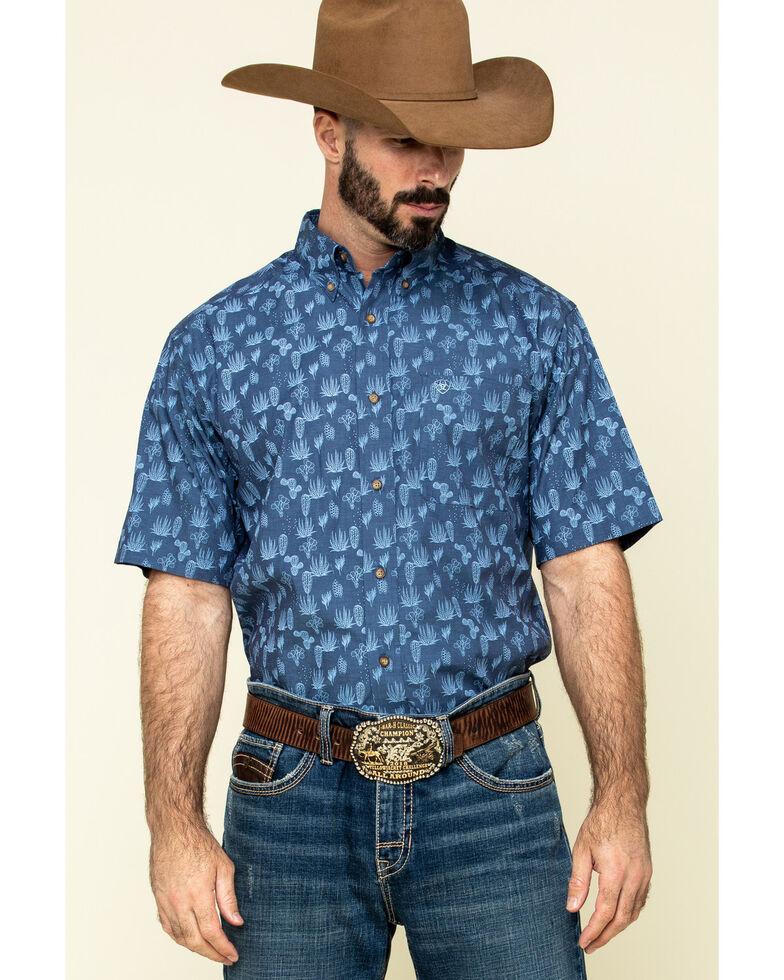 Ariat Men's Tavares Stretch Cactus Print Short Sleeve Western Shirt , Blue, hi-res