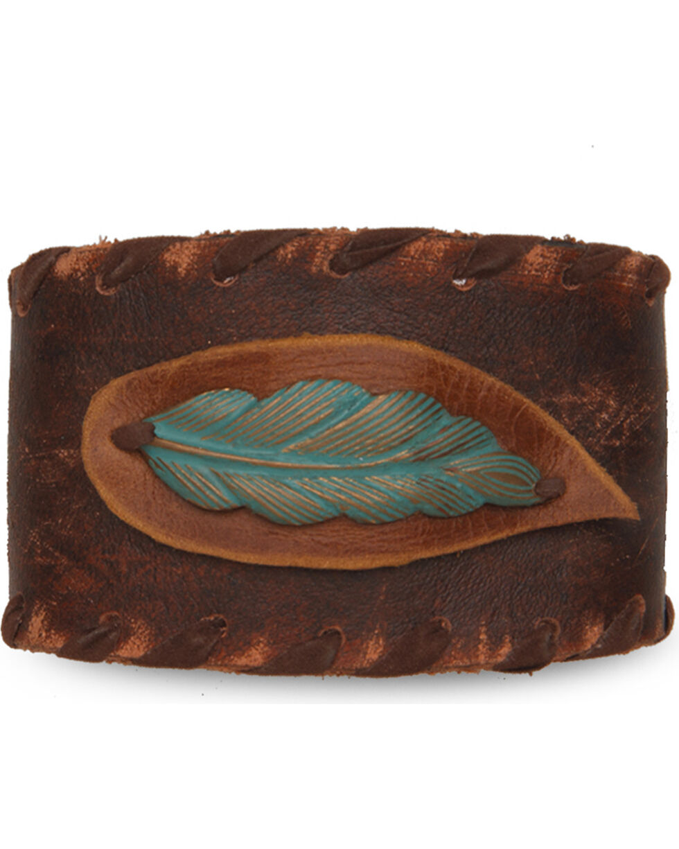 Cowgirl Confetti Women's Brown Laced Up Feather Step Cuff , Brown, hi-res
