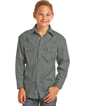 Rock & Roll Cowboy Boys' Diamond Print Long Sleeve Snap Shirt, Green, hi-res