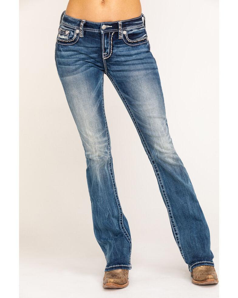 Miss Me Women's Light Wash Mixed Stitch Border Bootcut Jeans, , hi-res