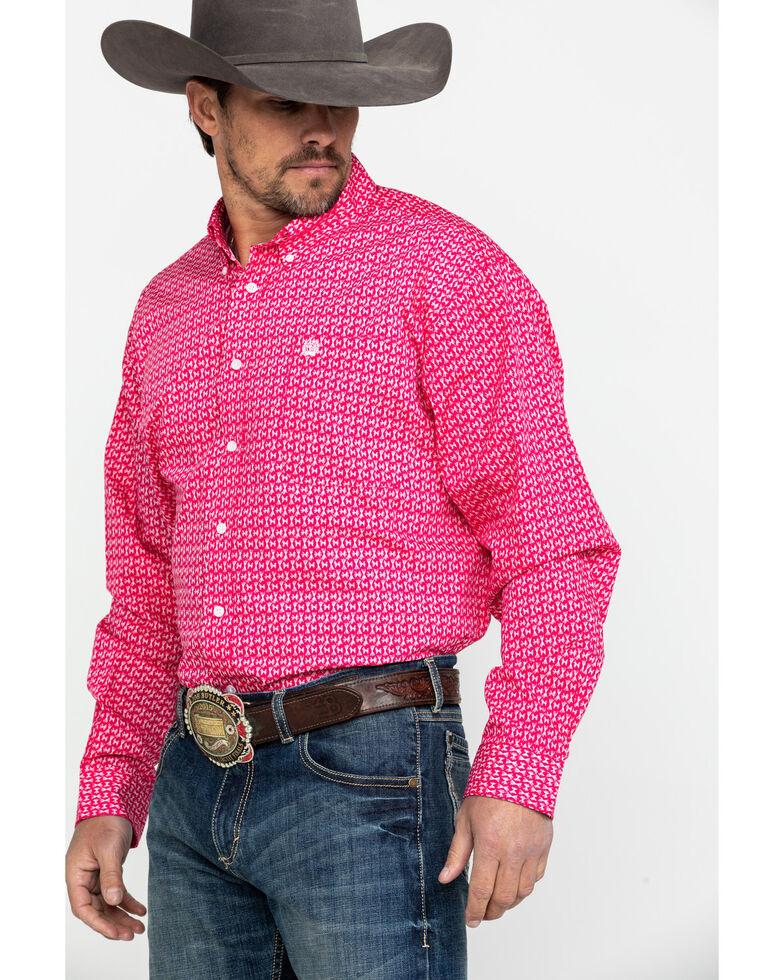 Cinch Men's Pink Geo Print Long Sleeve Western Shirt , Pink, hi-res