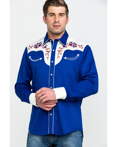 Rock & Roll Cowboy Men's Retro Solid Embroidered Long Sleeve Western Shirt , Blue, hi-res