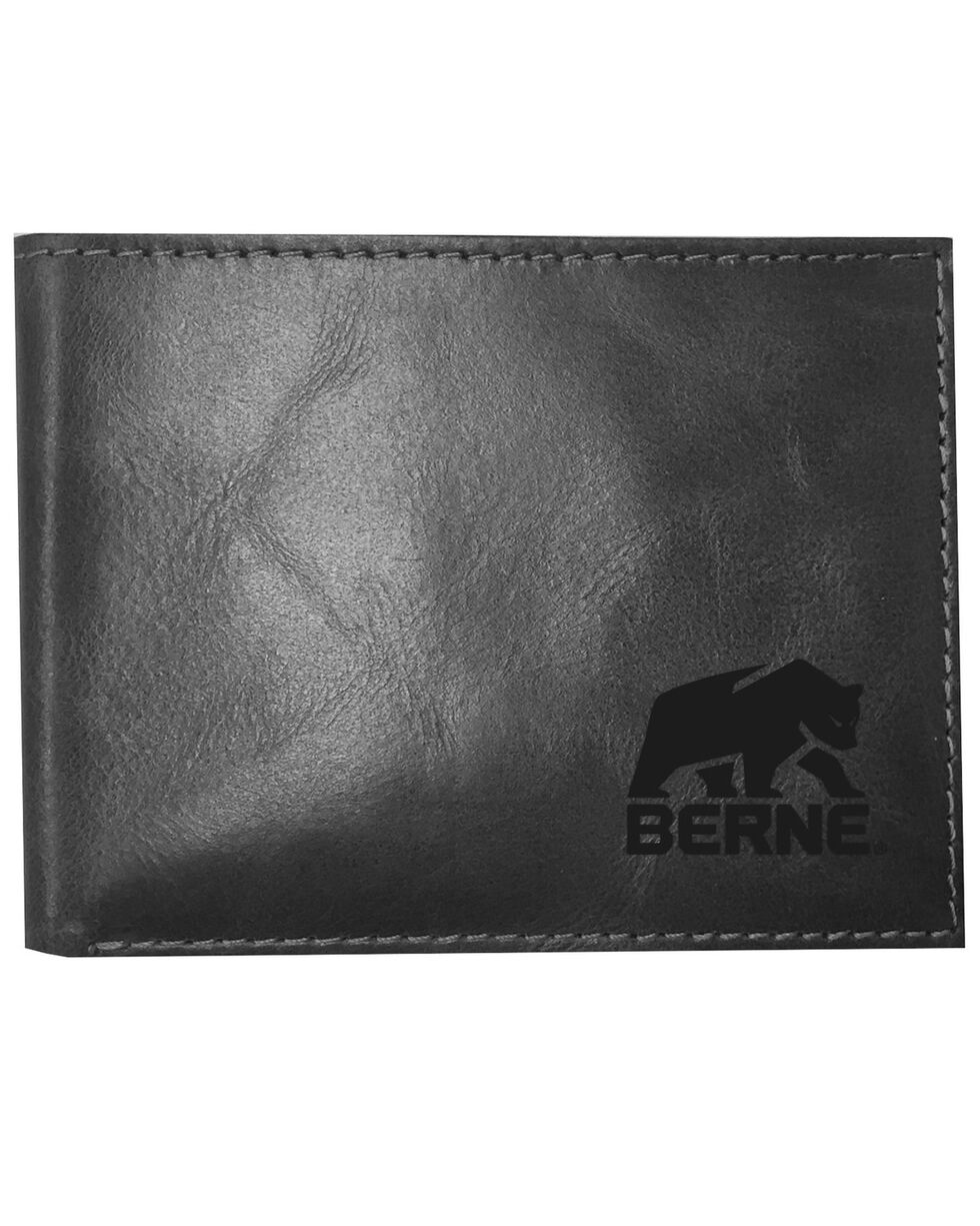 Berne Men's Black Stitched Passcase Wallet , Black, hi-res