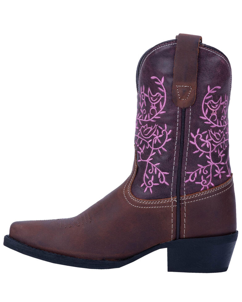 Dan Post Youth Girls' Pink Marissa Western Boots - Snip Toe, Brown, hi-res
