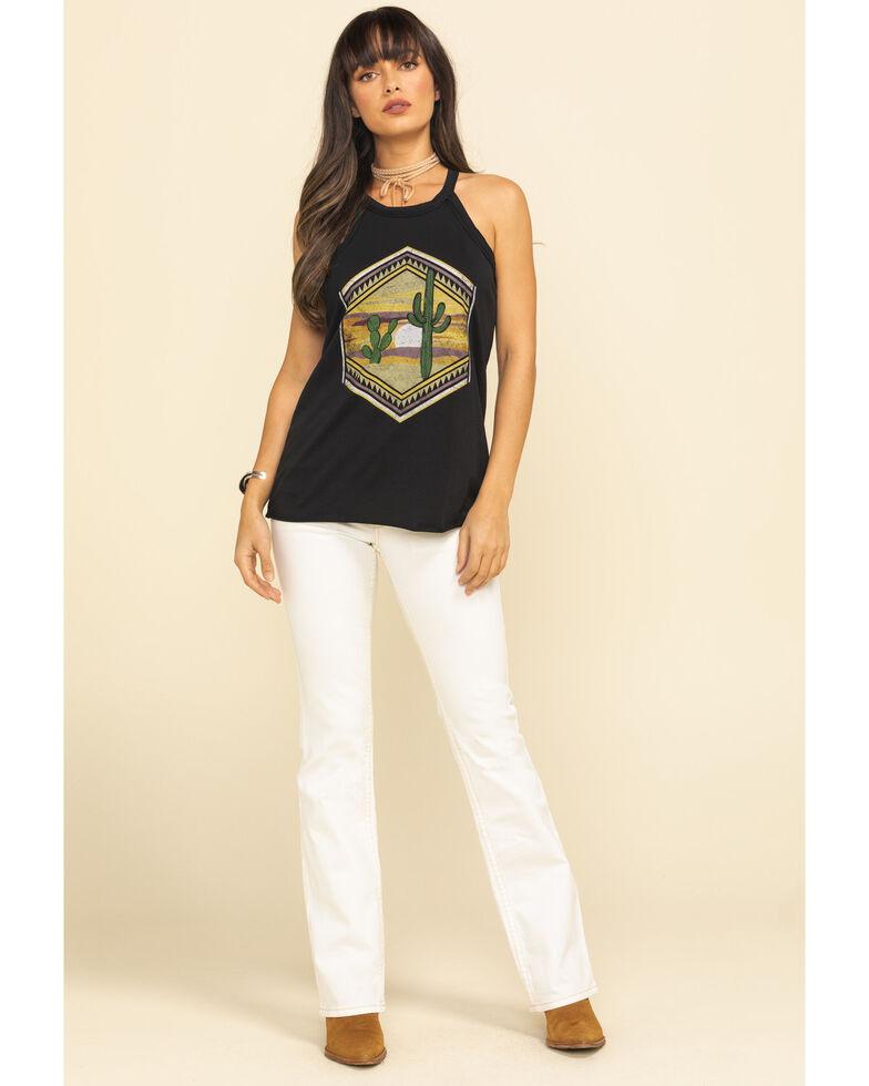 Rock & Roll Cowgirl Women's Cactus Geo Graphic Tank Top, Black, hi-res